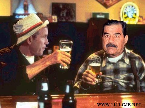 Image drole et amusante saddam_bush_having_beer.jpg